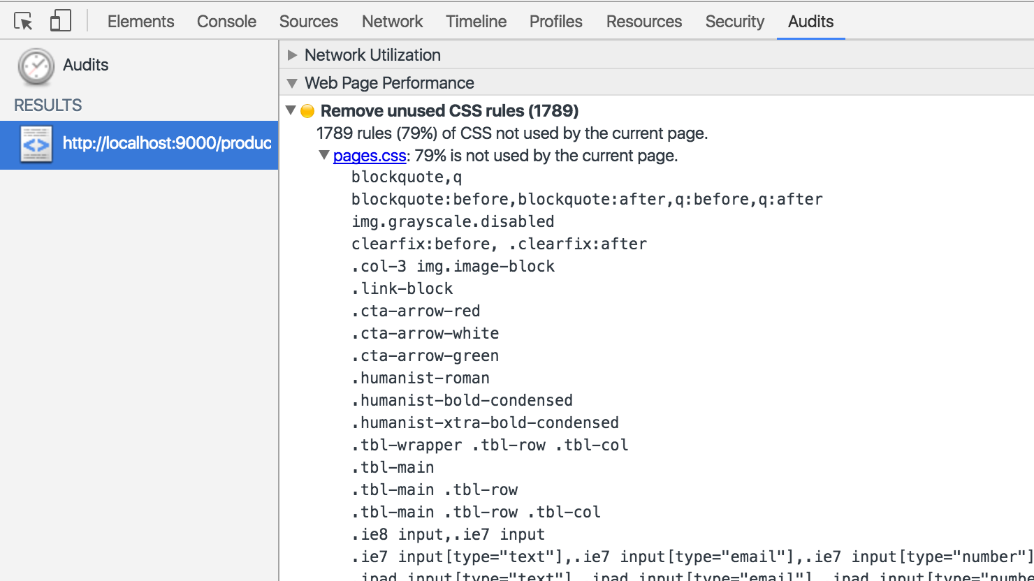 Screenshot of Web Performance Audit in Chrome Devtools