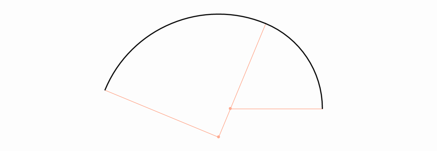 Two arcs with different radii joined together in a smooth way