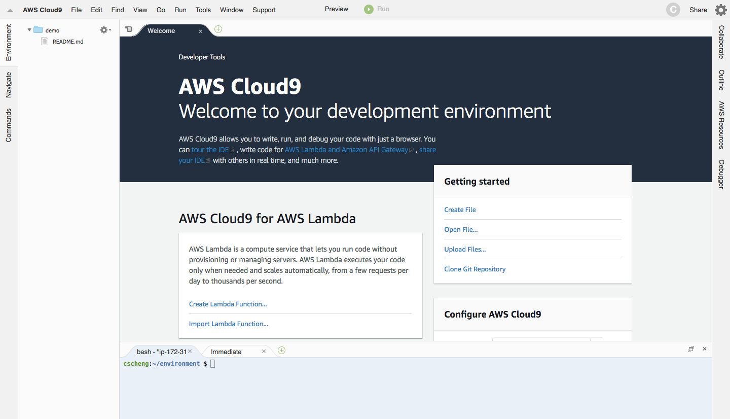 AWS Cloud9 welcome screen